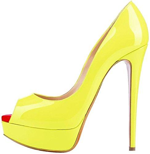 EDEFS Damenschuhe High Heels Plateau Pumps Peep Toe Stilettos Kleid-Partei Schuhe Yellow