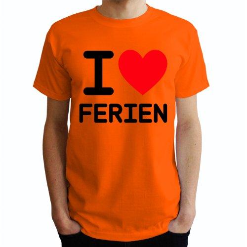 I love Ferien Herren T-Shirt Orange