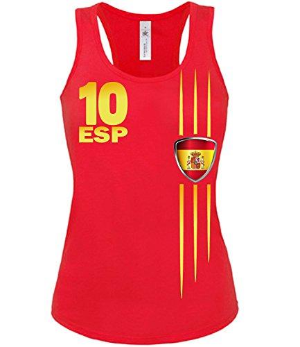 love-all-my-shirts SPANIEN FANSHIRT STREIFEN 3211 Damen Tank Top (TT-F-R) Gr. M
