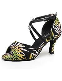 JSHOE Zapatos De Baile Latino Para Mujer Salsa/Tango/Chacha/Samba/Modern/Jazz Dance Sandals High Heelsdiy,DHeeled7.5cm-UK3...