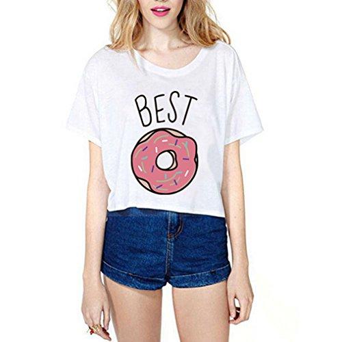 *Best Friends T-shirt Kurzarm Damen Sommer Aufdruck Tops mit Cartoon Kurz Mädchen (S, Weiß-A)*