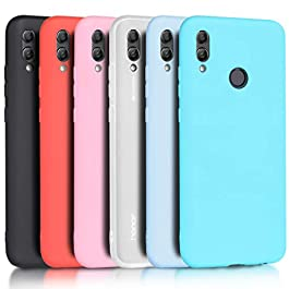 Wanxideng – 6x Case for Huawei P Smart 2019 / Honor 10 Lite, Solid Color Soft Cover in TPU Silicone Ultra-thin Ultra-light Candy shell [ Black + Red + Translucent + Pink + Mint Green + Light Blue ]