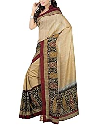 Sarees New Collection Latest Sarees Women's Art Silk Saree (Beige) (Saree Centre Sarees For Women Party Wear Offer...