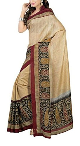 SVB Sarees Art Silk Saree With Blouse Piece(Ofs_149_Beige Free Size)