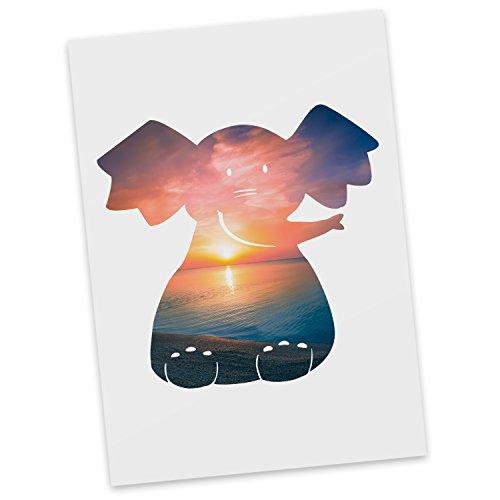 (Mr. & Mrs. Panda Grußkarte, Einladung, Postkarte Elefant sitzend - Farbe Sonnenuntergang)