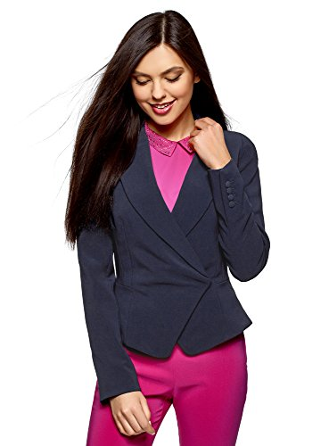oodji Collection Donna Blazer Aderente con Chiusura Asietrica Blu IT 50 / EU 46 / XXL