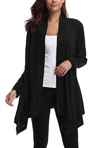 MISS MOLY Damen Sommer Jacke Offene Cardigan Langarmshirt Outwear Elegant Schwarz - L