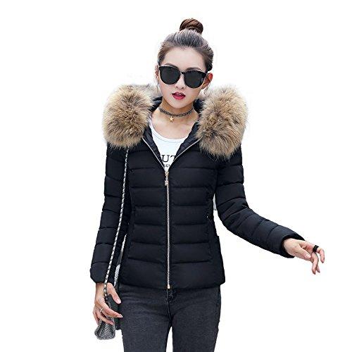 Bainasiqi donna elegante giacca invernale corta trapuntata da donna piumino giacca con cappuccio calda cappotti (l, nero)