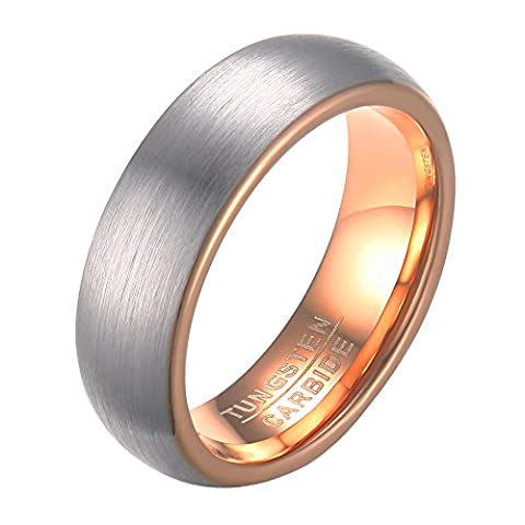 OAKKY Mens Classic Tungsten Carbide Wedding Band Ring Domed 6mm