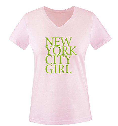 Comedy Shirts - New York City Girl - Damen V-Neck T-Shirt - Rosa/Schwarz Gr. M -