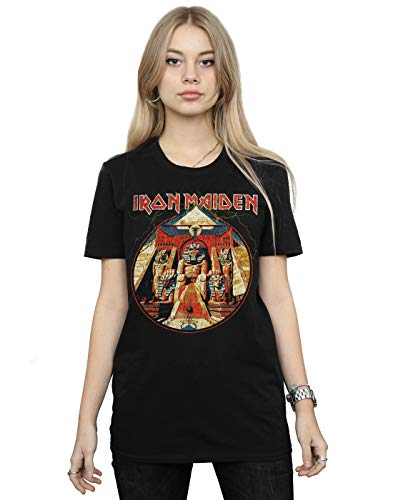 Iron Maiden Damen Powerslave Lightning Circle Boyfriend Fit T-Shirt Schwarz Large -