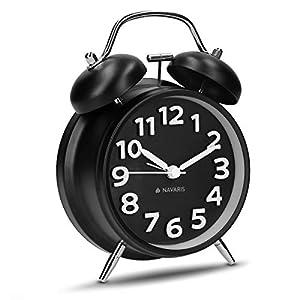 Navaris Retro Metall Doppelglockenwecker Uhr - Analog Wecker ohne Ticken - mit Ziffernblatt Alarm Licht - Vintage Doppelglocken Glockenwecker Schwarz