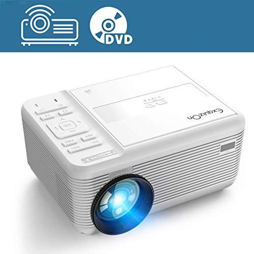 Mini Beamer DVD Player Intergriert 2 in 1Mobiler LED Projektor, HDMI USB AV VGA TF, Video 1080P Untertstützung, Kompatibel mit iPhone/ iPad/ Android Smartphone/ Laptop/ TV-Box, Heimkino Party