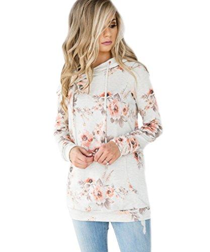 Tomwell Automne Femme Élégant Sweatshirt À Capuche Imprimé Floral Manche Longue Sweater avec Poche Pullover Hoodies Tops Blanc