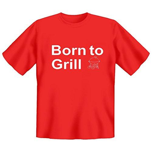 DAS Shirt für BBQ-Fans und Grillprofis: Born to Grill T-Shirt, Farbe rot, Rot