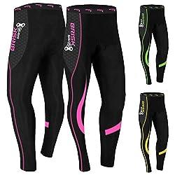 Brisk Bike Thermo-Radhosen Fahrradhosen Radsport-Leggings Fahrradhosen Radlerhosen gepolsterte Radhosen professionelle Radhosen Fahrradkleidung Mountainbike (Black/Pink, L)