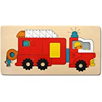 Jouet en Bois Wooden Toy Puzzle en Bois Jouet Educationnel pour Enfant Voiture de Pompiers Jouet Puzzle Casse-tête Fourgon-pompe