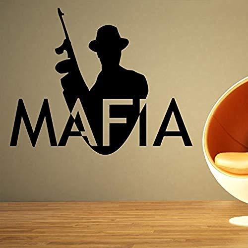 QTDM Mafia Logo Wort Große Große Wandaufkleber Für Schlafzimmer Jungen Home Art Dekoration Vinyl Wandtattoos Wohnzimmer Poster Wandbilder Y 73X57 cm, 73X57 cm (Wort-art)