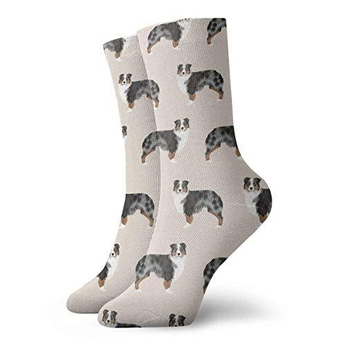 Kotdeqay Australian Shepherd Men Women Novelty Funny Crazy Crew Sock Printed Sport Athletic Socken 30cm Long Personalized Gift Socken -