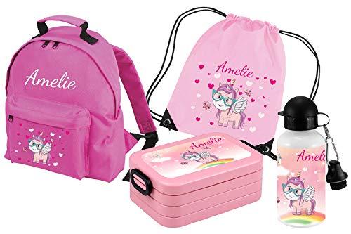 Mein Zwergenland Set 5 Kindergartenrucksack Classic und Brotdose Lunchbox Maxi, Turnbeutel + Trinkflasche mit Name Einhorn, 4-teilig, Rosa