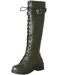 3aeba5bac770 YE Chaussures Bottes Cuissarde Femme Longue Chaude Plateforme Boots à  Lacets Bottes Femmes Hiver Winter Shoes