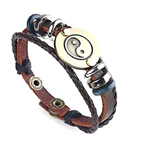 Herren Armband Tai Chi, Yin & Yang aus Leder (TAI CHI)