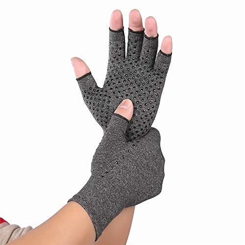 Fahrradhandschuhe Indoor Sports Anti-Rutsch-Gesundheitspflege-halbe Fingerhandschuhe Arthritis-Handschuhe Kompressionshandschuhe für rheumatoide Arthritis & Arthrose Winddichter Outdoor-Handschuh (Tippen Antislip)