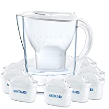 Tischwasserfilter, Breite: 104 mm, Tiefe: 256 mm, Höhe: 258 mm. Patronen Quantität: 12 Stück(e)Technische Details Produktfarbe : Transparent, Weiß Fassungsvermögen Wassertank : 2,4 l Filterpatronenersatz : Y Wasserfiltertyp : Pitcher-Wasserfilter Fil...
