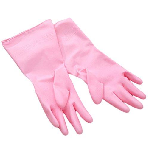 Haushalt wiederverwendbar Anti-Rutsch Gericht Wäschekorb Reinigung PVC Handschuhe ()