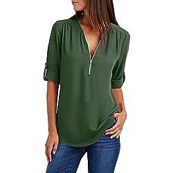Tuopuda Blusas Camisetas de Gasa Ropa de Mujer Camisas Manga Ajustable Blusas Top (XL, Verde)