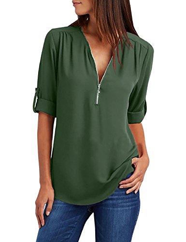Tuopuda Damen Blusen Chiffon Tunika mit Reißverschluss Vorne V-Ausschnitt Ärmel Verstellbar Oberteile Bluse Tops (L, Grün)