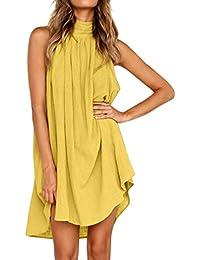 b42607aab6eb NINGSUN Moda Estive Donna Vacanza Vestito Irregolare Le Signore Abito da  Spiaggia Senza Maniche Senza Maniche