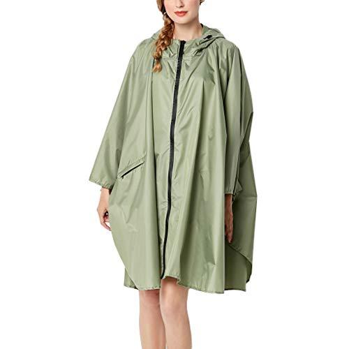 Cloom giacca lunga da donna,donne giacca da pioggia cappotto con cappuccio tasche solide all'aperto giacca a maniche lunghe da donna, cardigan autunnale e invernale(verde,xx-large)