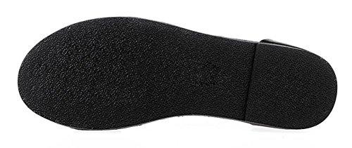 Sommermode Frauensandelholzen Dame Sandalen römische Wort Schnalle Schuhe, flache Sandalen Strand Black