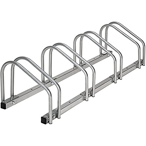 TecTake Râtelier range-vélo pour 4 vélos | en acier revêtu | (LxlxH) 100 x 28,5 x 26 cm