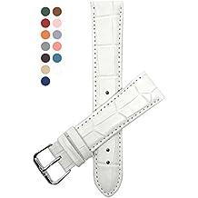 20mm Correa reloj de cuero auténtico, Blanco, también disponible en azul, rojo, naranja, rosa, verde oscuro