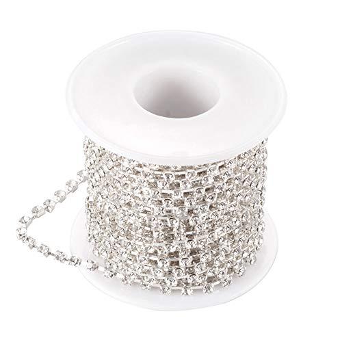 Nbeads 1rotolo di 9,1m 2mm placcato oro perline di cristallo catena strass catena taglio cristallo perline stringa rotolo per lavoretti fai da te accessori crystal