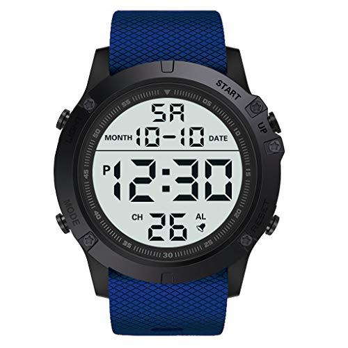 EUCoo_Watch Eucoo Mode Herrenuhr MilitäR Luxus Led Leuchtende Digitale Wasserdichte Uhr Sportuhr(Blau) -