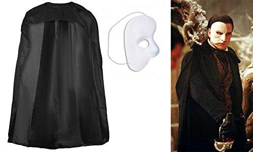 Lollipop Kleidung Phantom der Oper Fancy Kleid Set Hälfte Maske Cape Kostüm Herren Jungen (Phantom-cape)