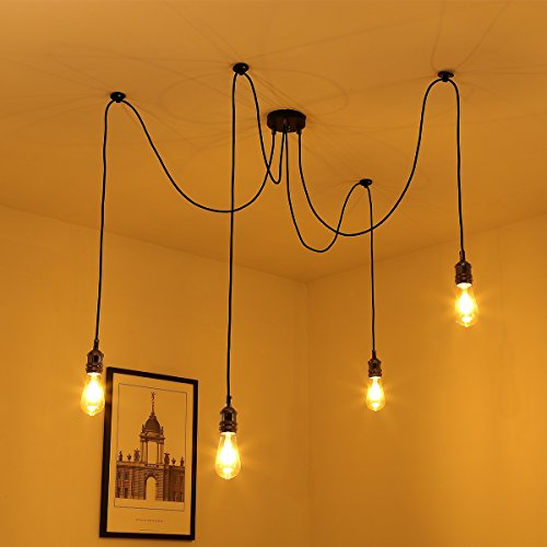 Vintage Chandelier Light Elfeland E27 4 Bulbs Holder Retro Industrial Spider Ceiling Adjustable Pendant With 3 Core Fabric Wire DIY Lamp Rope