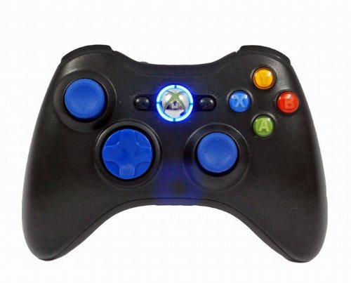 Xbox 360 Modded Rapid Fire Controller / Quick Scope / Drop Shot / Quick Aim / Auto Aim / Mimic / Burst / for COD Ghosts Black OPS 2 , Blue Leds , Blue Thumbsticks by Premium Controllerz