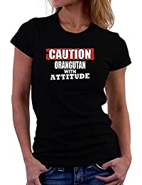 Teeburon Caution Orangutan with attitude Damen T-Shirt