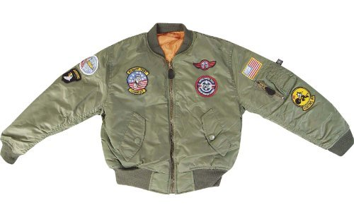 Jungen Kinder MA1 US Air Force Aviator Flight Jacke Fly Army Military Bomber Mantel grün olivgrün L 9-10 Jahre (Top Kostüm Jacke Gun Bomber)