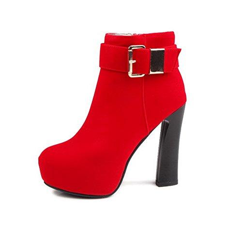 AgooLar Damen Niedrig-Spitze Reißverschluss PU Hoher Absatz Rund Zehe Stiefel, Rot, 39