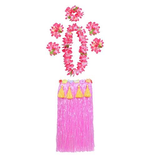 Amosfun 7pcs Hawaiian Tropical Hula Grass Rock Set mit rosa Blätter Leis Armbänder Stirnband Armband für Strand Luau Party Supplies für Erwachsene (Pink 80cm)