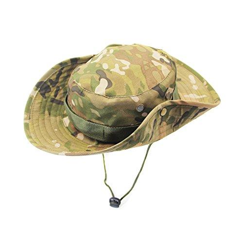 Herren Abgerundeten Kanten Breite Krempe Atmungsaktiv Militär Polyester Outdoor Angeln Camping Jagd UV Schutz Camouflage Mütze Hut MHB007 (Militär-hut)