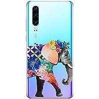 Oihxse Funda Huawei P30 Lite/Nova 4E, Ultra Delgado Transparente TPU Silicona Case Suave Claro Elegante Creativa Patrón Bumper Carcasa Anti-Arañazos Anti-Choque Protección Caso Cover (A12)