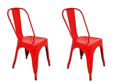 La Silla Española - Pack 2 Sillas estilo Tolix con respaldo. Color Rojo. Medidas 85x54x45,5