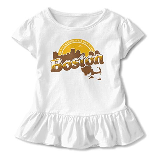 Little Girls' Boston Cheers Funny Short Sleeve Ruffle T Shirt