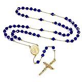 FaithHeart - Cadena Azul de Rosario Acero Inoxidable Medallón de Benito de Nursia Crucifijo Jesucristo Caja Regalo